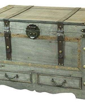 Rustic Gray Large Wooden Storage Trunk Coffee Table With Two Drawers 0 300x360
