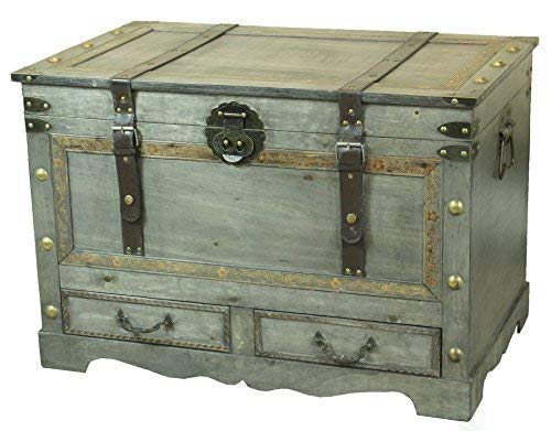 Rustic Gray Large Wooden Storage Trunk Coffee Table With Two Drawers 0