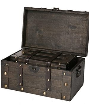 SLPR Alexander Wooden Trunk Chest With Straps Set Of 2 Rustic Brown Decorative Treasure Stash Box Old Fashioned Antique Vintage Style For Birthday Parties Wedding Decoration 0 0 300x360