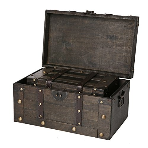 SLPR Alexander Wooden Trunk Chest With Straps Set Of 2 Rustic Brown Decorative Treasure Stash Box Old Fashioned Antique Vintage Style For Birthday Parties Wedding Decoration 0 0