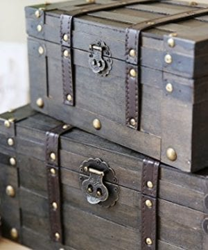 SLPR Alexander Wooden Trunk Chest With Straps Set Of 2 Rustic Brown Decorative Treasure Stash Box Old Fashioned Antique Vintage Style For Birthday Parties Wedding Decoration 0 1 300x360