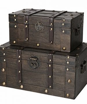 SLPR Alexander Wooden Trunk Chest With Straps Set Of 2 Rustic Brown Decorative Treasure Stash Box Old Fashioned Antique Vintage Style For Birthday Parties Wedding Decoration 0 300x360