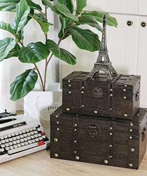 SLPR Alexander Wooden Trunk Chest With Straps Set Of 2 Rustic Brown Decorative Treasure Stash Box Old Fashioned Antique Vintage Style For Birthday Parties Wedding Decoration 0 4 300x360