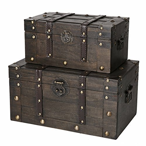 SLPR Alexander Wooden Trunk Chest With Straps Set Of 2 Rustic Brown Decorative Treasure Stash Box Old Fashioned Antique Vintage Style For Birthday Parties Wedding Decoration 0