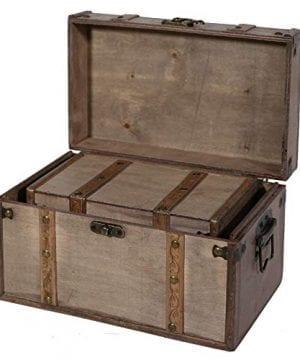 SLPR Natural Treasures Wooden Trunk Chest Set Of 2 Natural Decorative Old Rustic Wooden Keepsake Memory Trinket Nesting Boxes 0 0 300x360