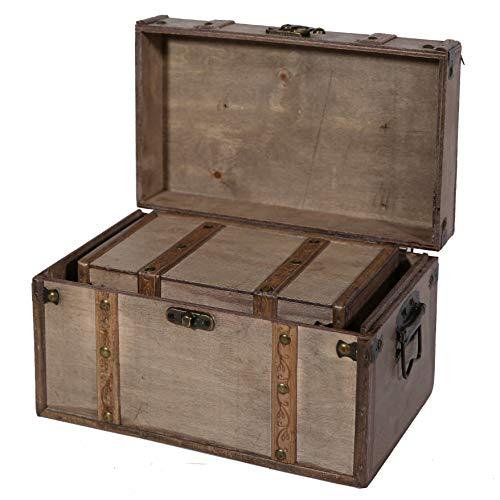SLPR Natural Treasures Wooden Trunk Chest Set Of 2 Natural Decorative Old Rustic Wooden Keepsake Memory Trinket Nesting Boxes 0 0