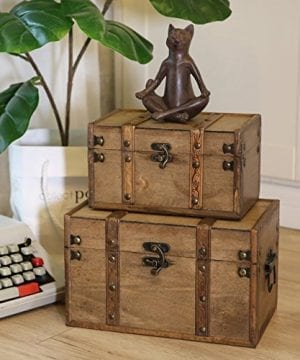 SLPR Natural Treasures Wooden Trunk Chest Set Of 2 Natural Decorative Old Rustic Wooden Keepsake Memory Trinket Nesting Boxes 0 1 300x360