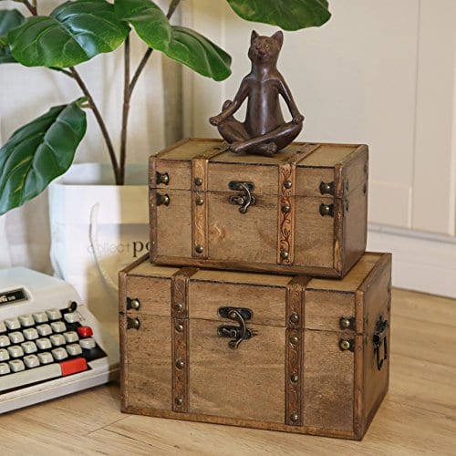 SLPR Natural Treasures Wooden Trunk Chest Set Of 2 Natural Decorative Old Rustic Wooden Keepsake Memory Trinket Nesting Boxes 0 1