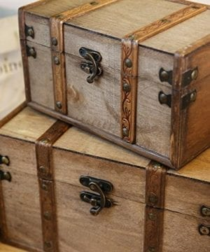 SLPR Natural Treasures Wooden Trunk Chest Set Of 2 Natural Decorative Old Rustic Wooden Keepsake Memory Trinket Nesting Boxes 0 2 300x360