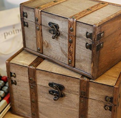 SLPR Natural Treasures Wooden Trunk Chest Set Of 2 Natural Decorative Old Rustic Wooden Keepsake Memory Trinket Nesting Boxes 0 2