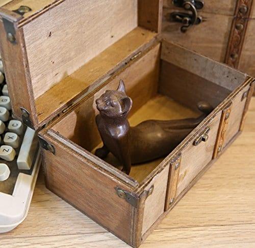 SLPR Natural Treasures Wooden Trunk Chest Set Of 2 Natural Decorative Old Rustic Wooden Keepsake Memory Trinket Nesting Boxes 0 3
