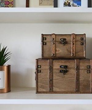 SLPR Natural Treasures Wooden Trunk Chest Set Of 2 Natural Decorative Old Rustic Wooden Keepsake Memory Trinket Nesting Boxes 0 4 300x360