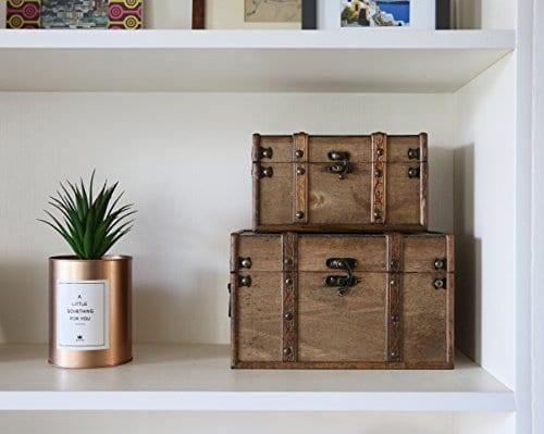 SLPR Natural Treasures Wooden Trunk Chest Set Of 2 Natural Decorative Old Rustic Wooden Keepsake Memory Trinket Nesting Boxes 0 4
