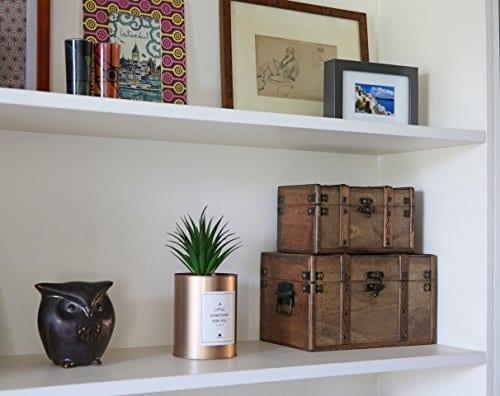 SLPR Natural Treasures Wooden Trunk Chest Set Of 2 Natural Decorative Old Rustic Wooden Keepsake Memory Trinket Nesting Boxes 0 5