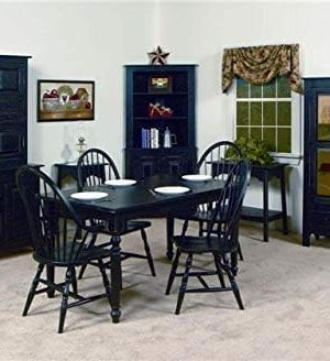 Solid Wood Pine Hoosier Buffet Server And Hutch With Cupboard Storage Space Primitive Paint Black 0 2 300x328