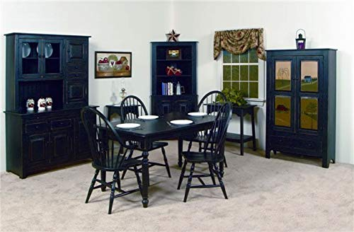 Solid Wood Pine Hoosier Buffet Server And Hutch With Cupboard Storage Space Primitive Paint Black 0 2