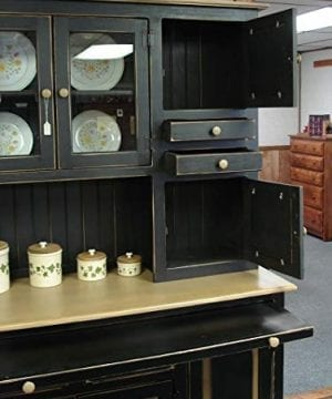 Solid Wood Pine Hoosier Buffet Server And Hutch With Cupboard Storage Space Primitive Paint Black 0 3 300x360