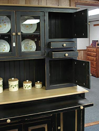 Solid Wood Pine Hoosier Buffet Server And Hutch With Cupboard Storage Space Primitive Paint Black 0 3