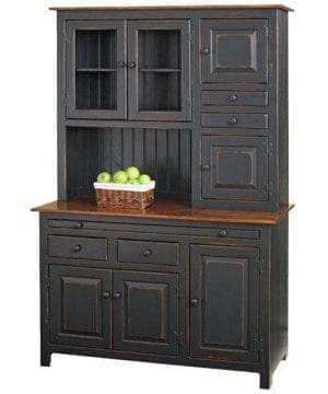 Solid Wood Pine Hoosier Buffet Server And Hutch With Cupboard Storage Space Primitive Paint Black 0 300x360