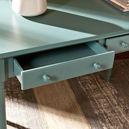 Southern Enterprises Janice 2 Drawer Writing Desk 42 Wide Agate Green Finish 0 1