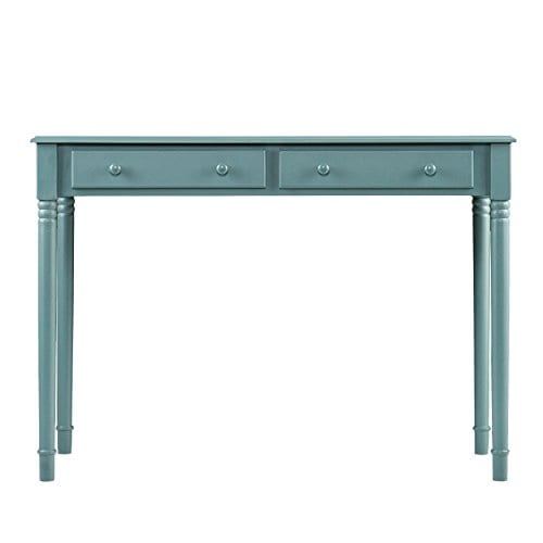 Southern Enterprises Janice 2 Drawer Writing Desk 42 Wide Agate Green Finish 0 2