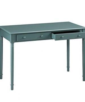 Southern Enterprises Janice 2 Drawer Writing Desk 42 Wide Agate Green Finish 0 4 300x360