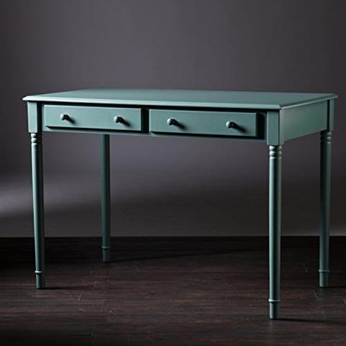 Southern Enterprises Janice 2 Drawer Writing Desk 42 Wide Agate Green Finish 0 5