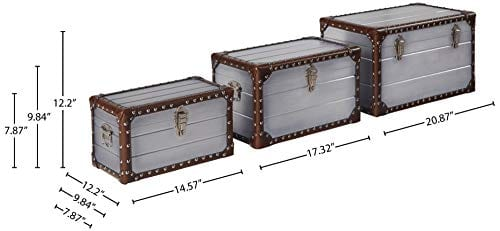 Stone Beam Mid Century Modern Wood Trunks Pack Of 3 Silver 0 2