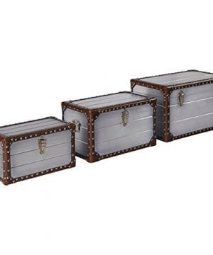 Stone Beam Mid Century Modern Wood Trunks Pack Of 3 Silver 0 300x360