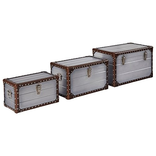 Stone Beam Mid Century Modern Wood Trunks Pack Of 3 Silver 0