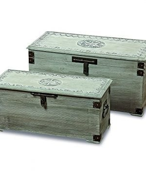 The Americana Steamer Trunks Blanket Chests Storage Boxes Set Of 2 Medallion And Tooled Metal Details Hinged Top Metal Handles Latch Lifting Lids 34 And 27 Inches By Whole House Worlds 0 300x360