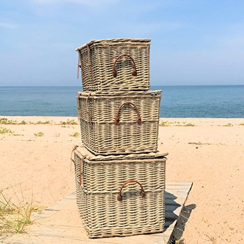 The Cape Cod Wicker Trunks Set Of 3 Faux Leather Straps And Handles Storage And Blanket Chests Various Sizes Hinged Tops Distressed White Willow By Whole House Worlds 0 0