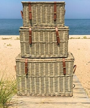 The Cape Cod Wicker Trunks Set Of 3 Faux Leather Straps And Handles Storage And Blanket Chests Various Sizes Hinged Tops Distressed White Willow By Whole House Worlds 0 2 300x360