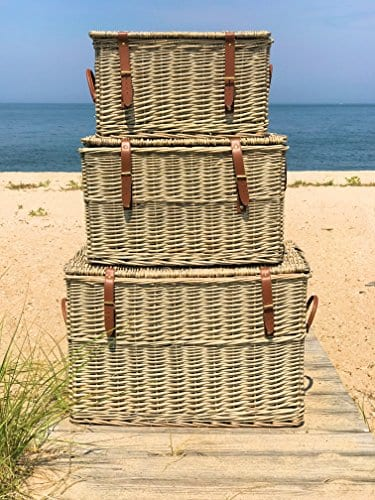 The Cape Cod Wicker Trunks Set Of 3 Faux Leather Straps And Handles Storage And Blanket Chests Various Sizes Hinged Tops Distressed White Willow By Whole House Worlds 0 2