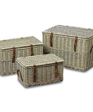 The Cape Cod Wicker Trunks Set Of 3 Faux Leather Straps And Handles Storage And Blanket Chests Various Sizes Hinged Tops Distressed White Willow By Whole House Worlds 0 300x360