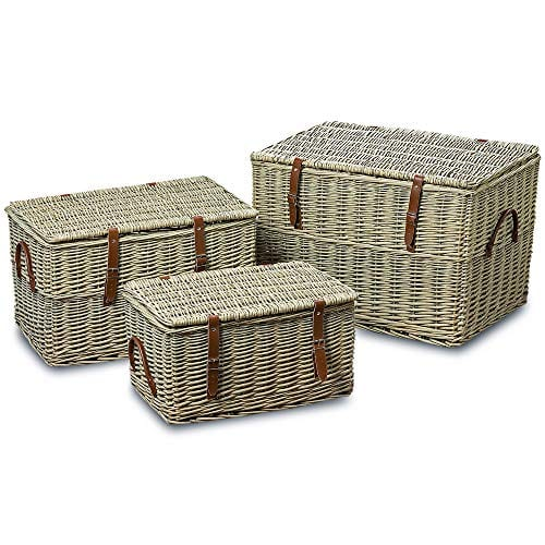 The Cape Cod Wicker Trunks Set Of 3 Faux Leather Straps And Handles Storage And Blanket Chests Various Sizes Hinged Tops Distressed White Willow By Whole House Worlds 0