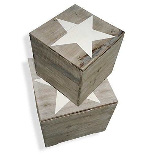 The Rustic Cape Cod Star Decorative Furniture Cubes Set Of 2 Sustainable Wood Quality Hardware Driftwood Gray 15 34 X 15 34 X 15 34 And 11 X 11 X 11 Inches By Whole House Worlds 0 0