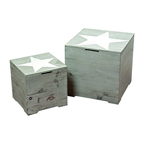 The Rustic Cape Cod Star Decorative Furniture Cubes Set Of 2 Sustainable Wood Quality Hardware Driftwood Gray 15 34 X 15 34 X 15 34 And 11 X 11 X 11 Inches By Whole House Worlds 0