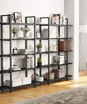 Tribesigns 5 Tier Bookshelf Vintage Industrial Style Bookcase 70 H X 9 W X 47L Black 0 0 300x360