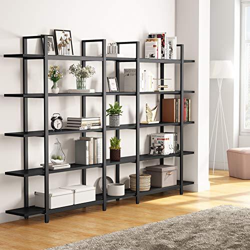 Tribesigns 5 Tier Bookshelf Vintage Industrial Style Bookcase 70 H X 9 W X 47L Black 0 0