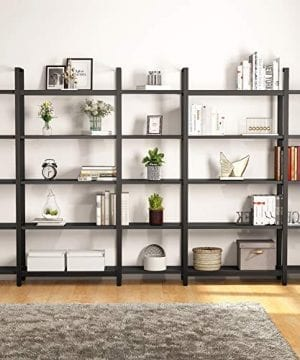 Tribesigns 5 Tier Bookshelf Vintage Industrial Style Bookcase 70 H X 9 W X 47L Black 0 1 300x360