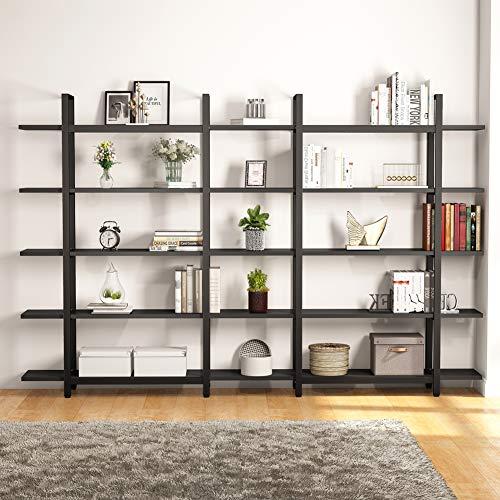 Tribesigns 5 Tier Bookshelf Vintage Industrial Style Bookcase 70 H X 9 W X 47L Black 0 1