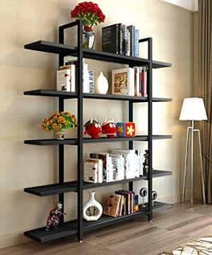 Tribesigns 5 Tier Bookshelf Vintage Industrial Style Bookcase 70 H X 9 W X 47L Black 0 300x360