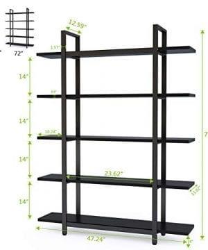 Tribesigns 5 Tier Bookshelf Vintage Industrial Style Bookcase 70 H X 9 W X 47L Black 0 5 300x360