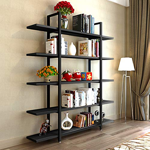 Tribesigns 5 Tier Bookshelf Vintage Industrial Style Bookcase 70 H X 9 W X 47L Black 0