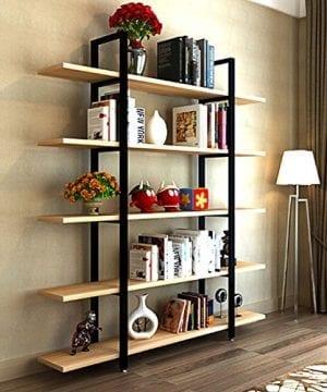 Tribesigns 5 Tier Bookshelf Vintage Industrial Style Bookcase 72 H X 12 W X 47L Light Walnut 0 300x360