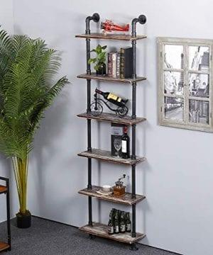 Ucared Industrial Shelving 6 Tier Modern Wood Ladder ShelfDesign Rustic BookshelfDIY Vintage Pipe ShelvesWall ShelvesDisplay ShelvingWood Shelves Utility Storage Rack 0 0 300x360
