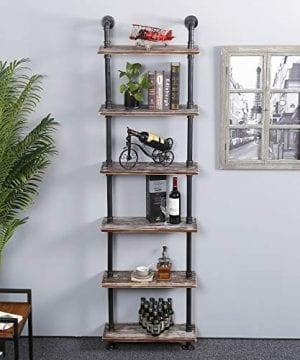Ucared Industrial Shelving 6 Tier Modern Wood Ladder ShelfDesign Rustic BookshelfDIY Vintage Pipe ShelvesWall ShelvesDisplay ShelvingWood Shelves Utility Storage Rack 0 1 300x360