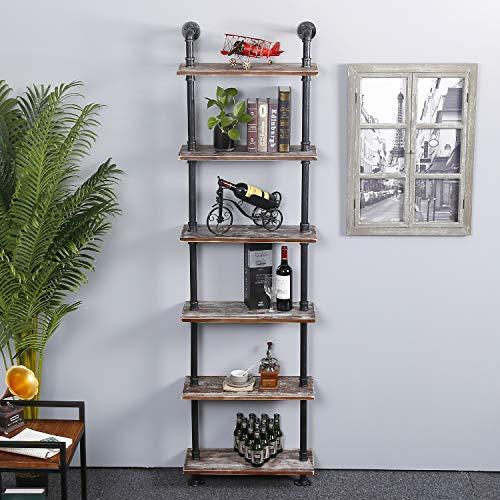 Ucared Industrial Shelving 6 Tier Modern Wood Ladder Shelf Design Rustic Bookshelf Diy Vintage Pipe Shelves Wall Shelves Display Shelving Wood Shelves