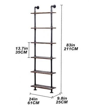 Ucared Industrial Shelving 6 Tier Modern Wood Ladder ShelfDesign Rustic BookshelfDIY Vintage Pipe ShelvesWall ShelvesDisplay ShelvingWood Shelves Utility Storage Rack 0 3 300x360